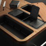 Mobile Preparation kitchen acacia wood work bench and storage
